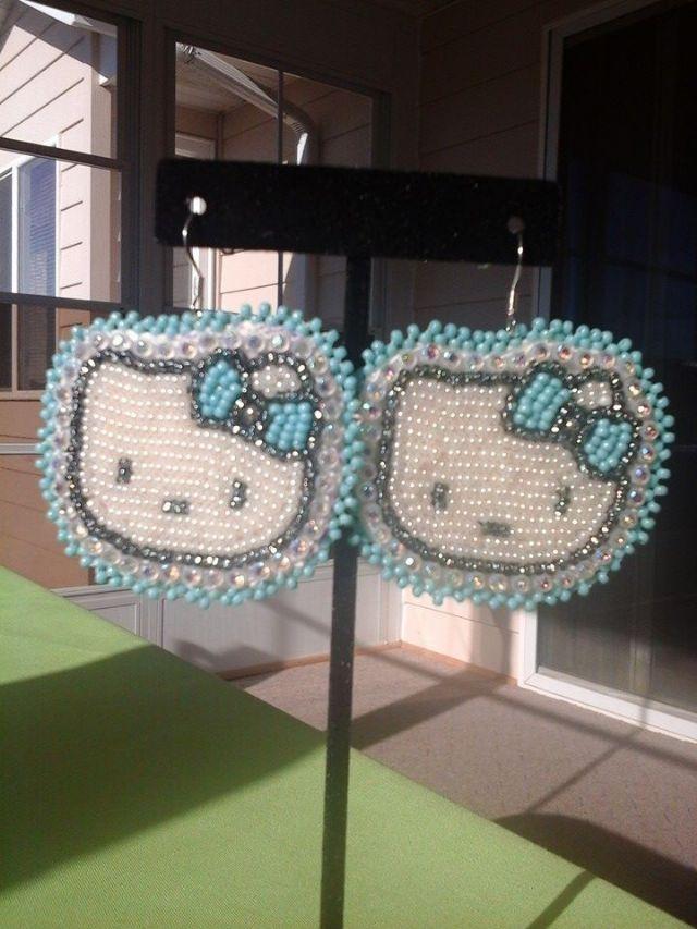 4549de5dc Turquoise & Off White Hello Kitty Style Earrings - Rapid City, South Dakota