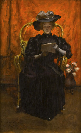 Irving Ramsey Wiles - Lady in Black: The Red Room