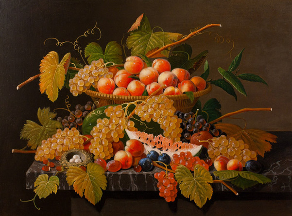 Severin Roesen - Still Life with Fruit and a Bird's Nest