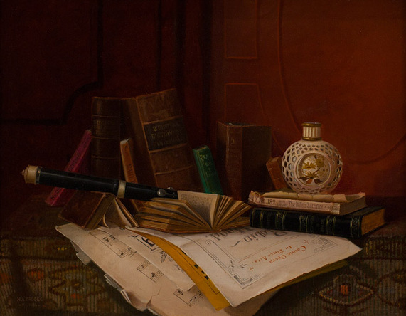 Nicholas Alden Brooks - Still Life with Books and Flute