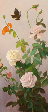 George Cochran Lambdin - Still Life of Roses and Butterfly