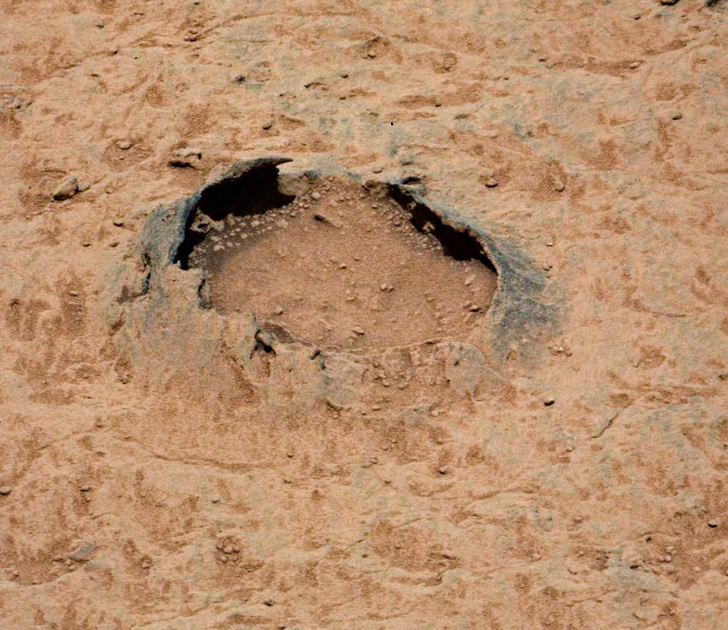 Mars Curiosity rover image of collapsed bubble