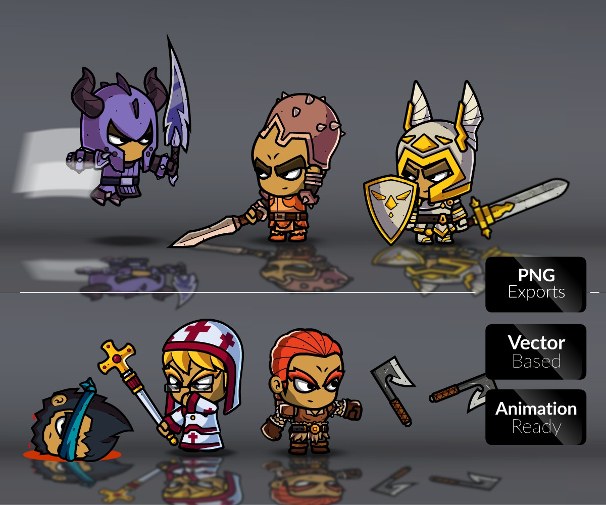 Royalty Free 2D Game Art - Role Playing Games Character Bundle 1