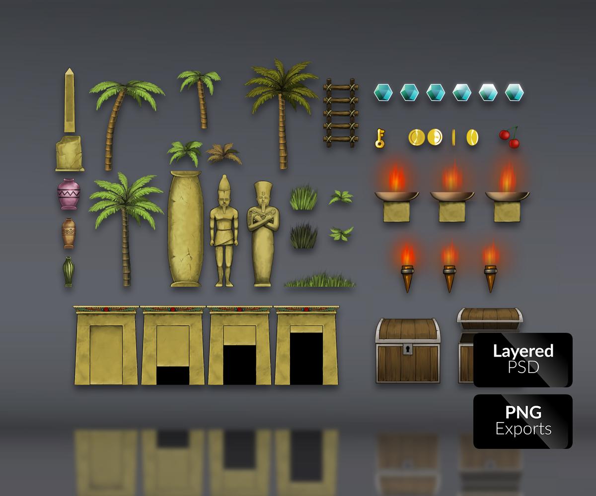 Egyptian Temple – Platformer Tileset - Game Art Partners