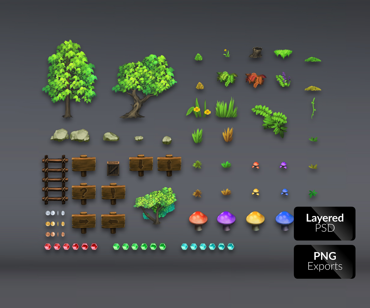 Magic Forest – Platform Set - Game Art Partners