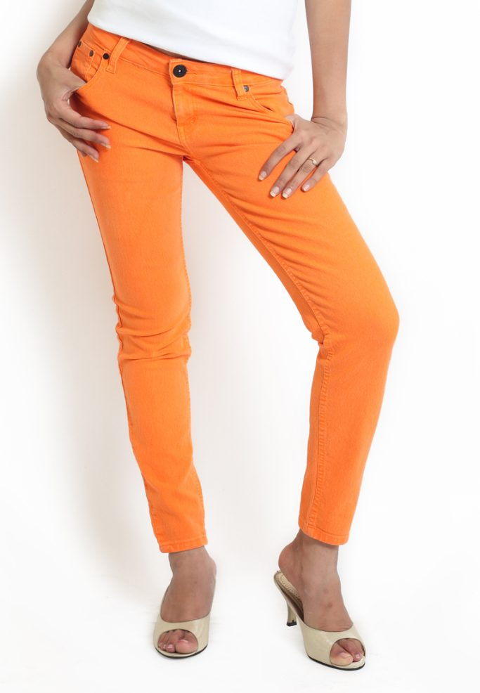 Compare price of Globus Orange Coloured Overdyed Denim via Compare Hatke