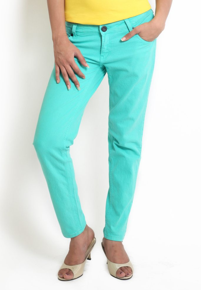 Compare price of Globus Turquoise Coloured Overdyed Denim via Compare Hatke