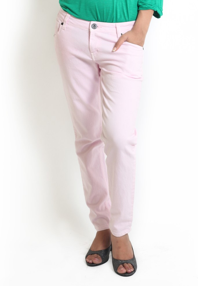 Compare price of Globus Light Pink Coloured Overdyed Deni via Compare Hatke