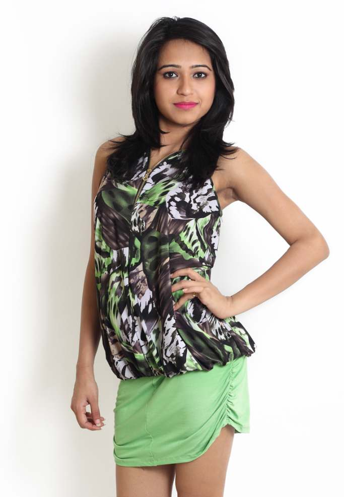 Compare price of Globus Green Coloured Printed Dress With via Compare Hatke