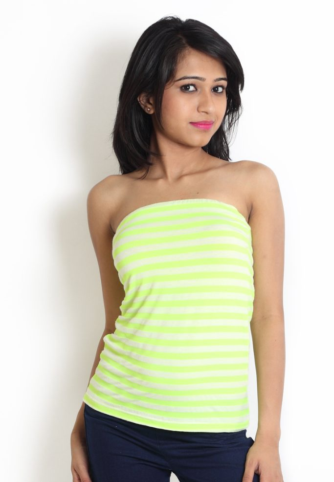 Compare price of Globus Green Coloured Tube Top With Hori via Compare Hatke