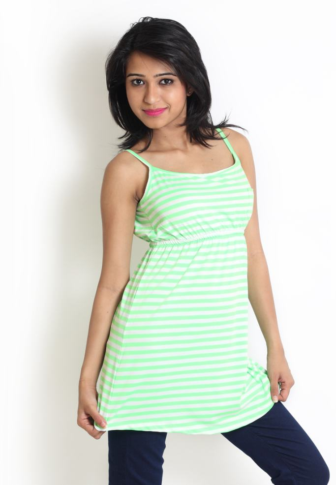 Compare price of Globus Green Top With Horizontal Stripes via Compare Hatke