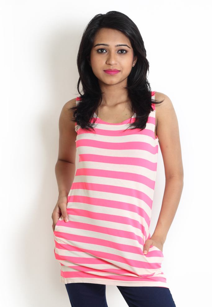 Compare price of Globus Pink Top With Horizontal Stripes  via Compare Hatke