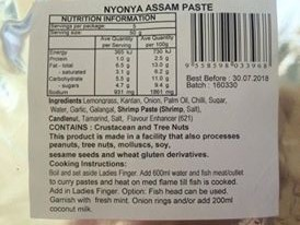 Nonya Assam Ingredients