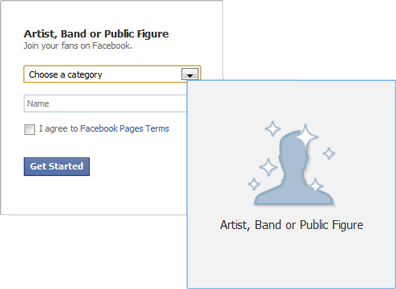 Facebook page category selection screen
