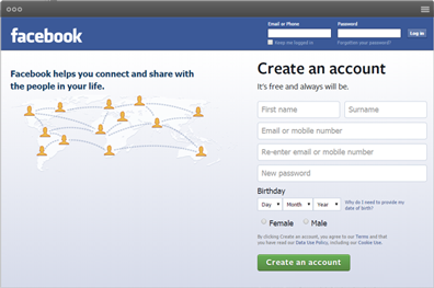 Facebook account signup page
