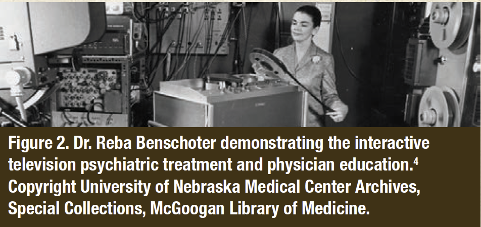 Figure 2. Dr. Reba Benschoter demonstrating the interactive television psychiatric treatment and physician education.4 Copyright University of Nebraska Medical Center Archives, Special Collections, McGoogan Library of Medicine.