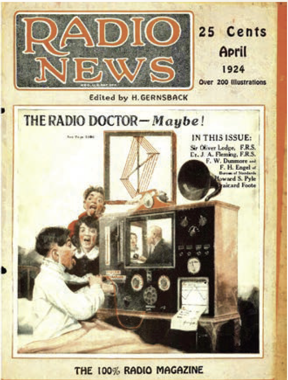 Figure 1. Radio News cover of futuristic image of patient care. Photo courtesy of April 1924 Radio News.9 Copyright Gernsback H. The radio doctor—maybe! Radio News. 1924;5(10).