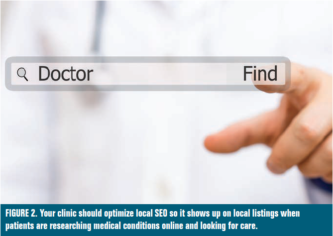FIGURE 2. Your clinic should optimize local SEO so it shows up on local listings when patients are researching medical conditions online and looking for care.