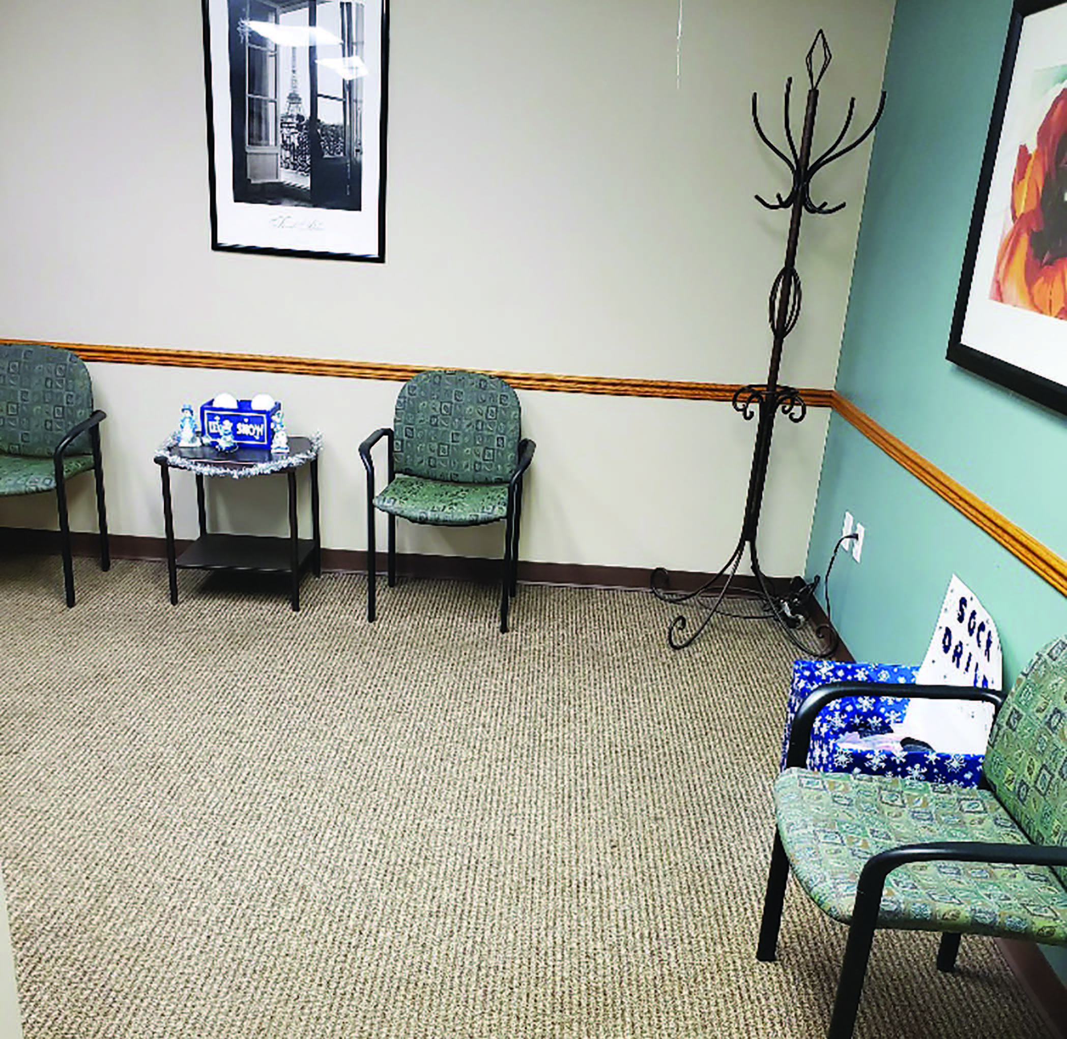 Here one can see a socially-distanced podiatry waiting room. Depending on the specific clinic environment, some clinicians have even eliminated the waiting room completely by having patients wait in their cars until a treatment room is available.(Photo courtesy of Sarah Benjamin, DPM)