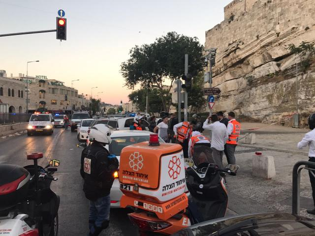 United Hatzalah volunteers respond to the attack near Jerusalem's Damascus Gate on June 16.