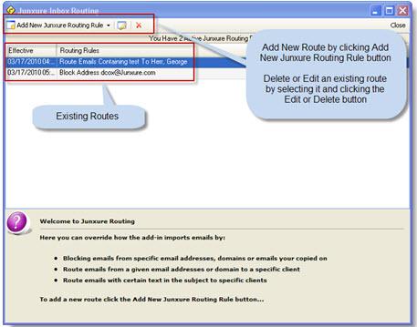 Junxure Outlook Inbox Routing