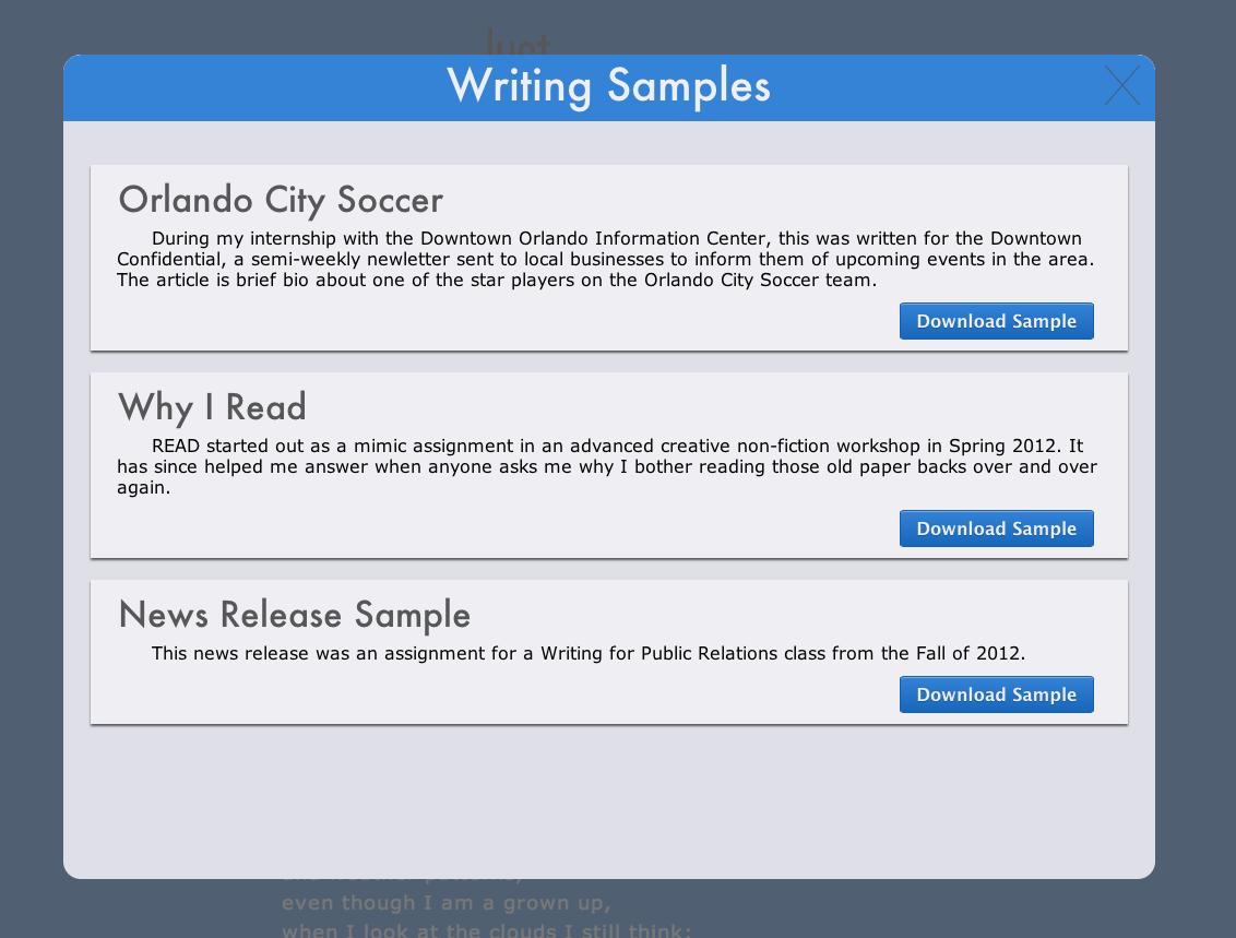 Writing Sample Modal