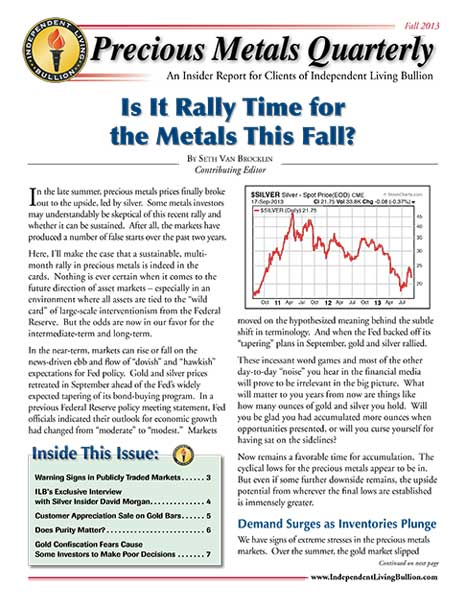 Money Metals Insider - Fall 2013