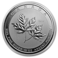 Canadian Maple Leaf, 10 Troy Ozs. Silver, .9999 Pure