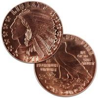 Copper Indian Head Incuse Round - 1 AVDP Oz, .999 Pure (Incuse)