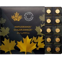 MapleGram25 - Qty 25 Maple Leaf 1 Gram Coins .9999 Pure Gold