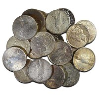 Common Circulated Cull Peace Silver Dollars, No Grade, 90% Silver