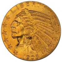 $5 Indian Head (1908–1916, 1929), 0.2419 Troy Ounce Gold Content