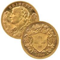 Swiss 20 Franc - .1867 Oz Gold, 90% Pure