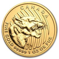 Canadian Growling Cougar - 1 Troy Oz .99999 Pure Gold