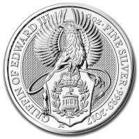 British Royal Mint Queen's Beast; Griffin - 2 Oz Silver Coin .9999 Pure