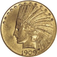 $10 Gold Indian Head (1907-1933), 0.4838 Troy Ounce Gold Content