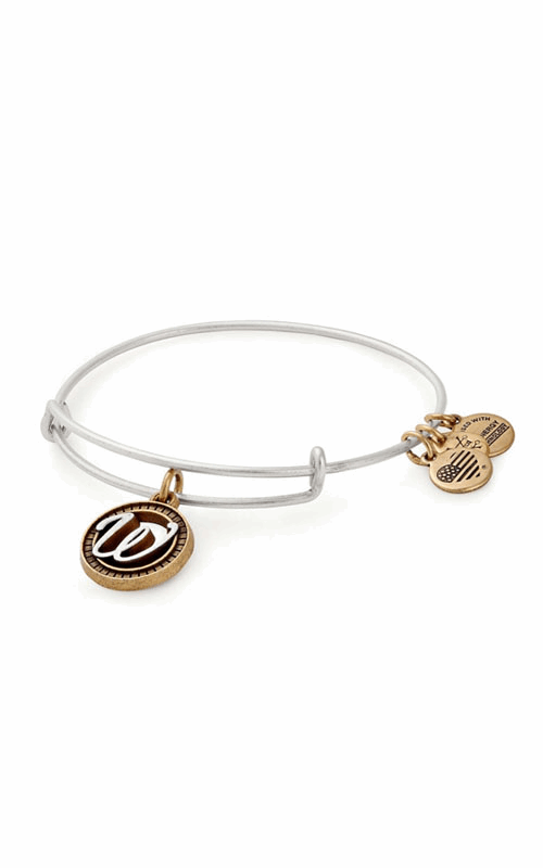 Initial W Two Tone Charm Bangle product image