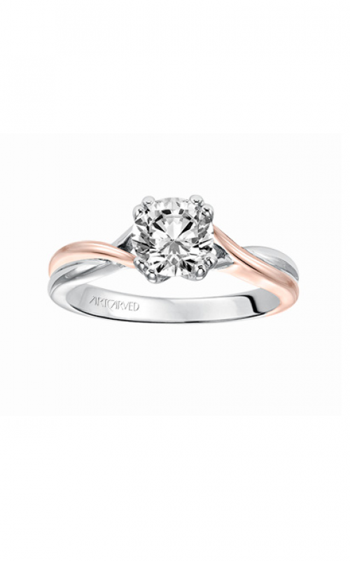 Artcarved Solitude Diamond engagement ring with high polished split shank, twist design and double prong setting. Engagement Ring 31-V153DRRR-E product image
