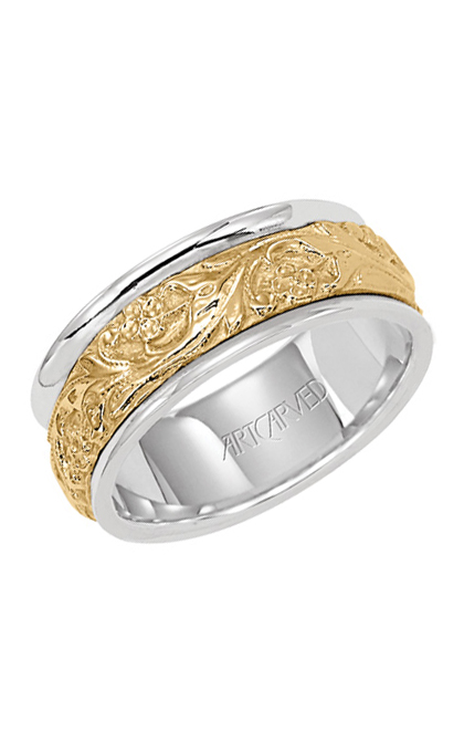 Artcarved LYRIC 8mm Two Tone Wedding Band With 14KT Yellow Gold Inlay 11-WV4309-G product image