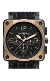 Bell and Ross Aviation BR 01 46 MM Watch BR01-94 Pink Gold & Carbon Officer