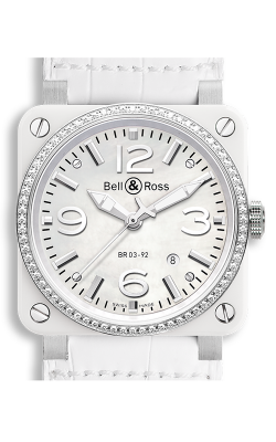 Bell and Ross Aviation BR 03 42 MM Watch BR03-92 White Ceramic Diamonds