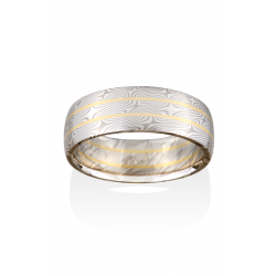 Chris Ploof Traditional Mokume Gane Wedding Band MG-WILLOW-RAILS-WS product image