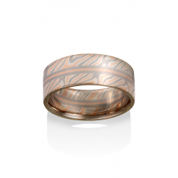 Chris Ploof Traditional Mokume Gane Wedding Band MG-BIRCH-RWS-RAILS product image
