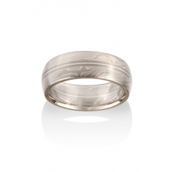 Chris Ploof Traditional Mokume Gane Wedding Band MG-BIRCH-PWS-RAILS product image