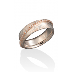 Chris Ploof Traditional Mokume Gane Wedding Band MG-BIRCH-RWS-OVRLY-DIA product image