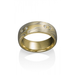 Chris Ploof Traditional Mokume Gane Wedding Band MG-BIRCH-YWS-INL-DIA product image