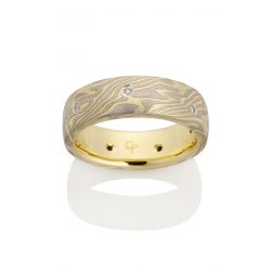 Chris Ploof Traditional Mokume Gane Wedding Band MG-OAK-YWS-DIA product image