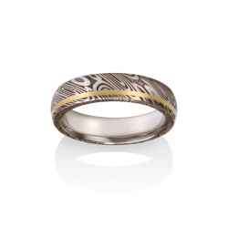 Chris Ploof Damascus Steel Wedding Band DS-WOOD-INL-OX product image