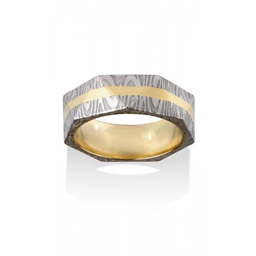 Chris Ploof Damascus Steel Wedding band DS-PANTHEON-1426-LINE-INL product image