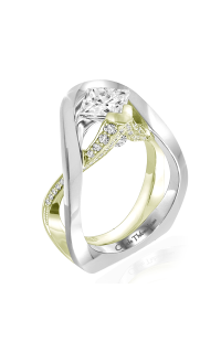 Claude Thibaudeau European Micro-Pave Engagement Ring PLT-1958V-MP product image